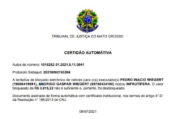 Justiça acha R$ 3 mil nas contas de Satélite e filho; ação pede bloqueio de R$ 10 milhões